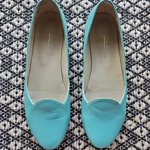 Shoes of Prey turquoise leather flats size 7.5